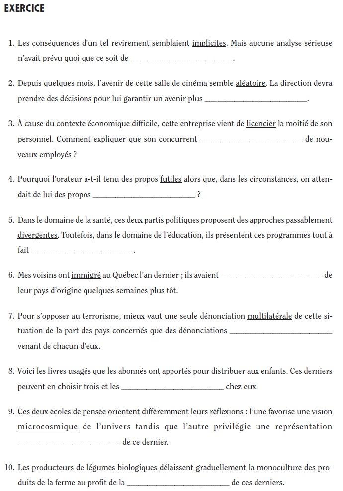 French_Vocabulary_Exercise_4