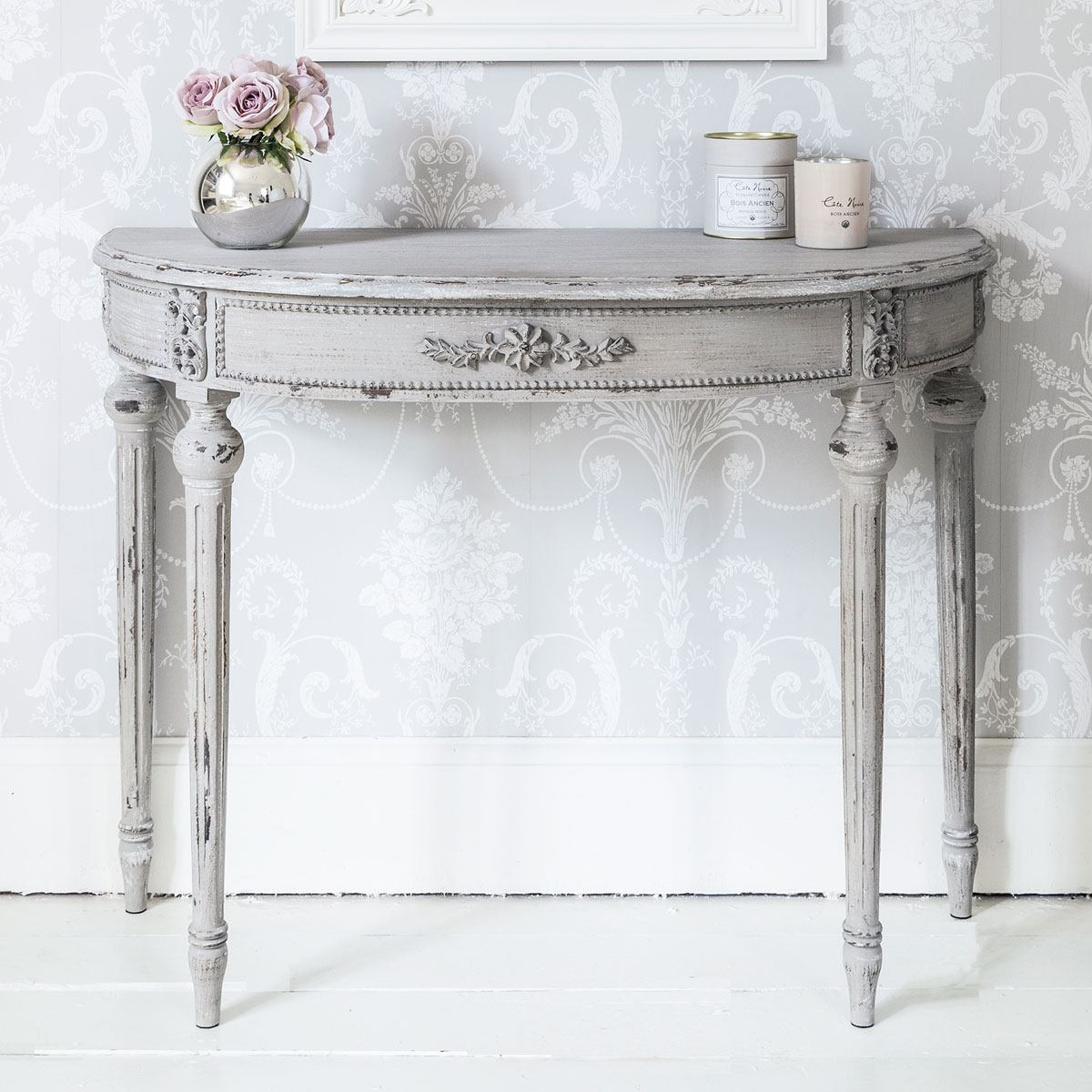 Grey Half Moon Console Table French Bedroom Company