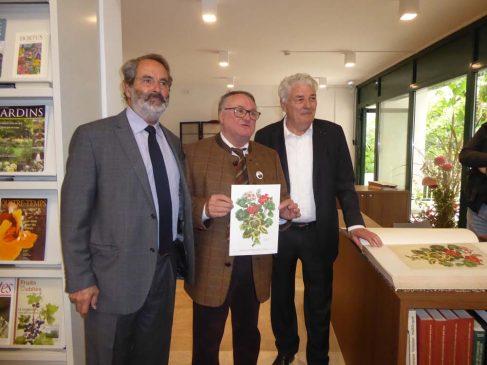 Henri Delbard, président d'honneur, Daniel Lejeune administrateur, et Dominique Douard, président de la SNHF (de gauche à droite) le 5 octobre lors de l'inauguration de la bibliothèque.