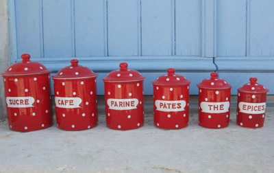 Red French Enamel Canisters Vintage French Country Kitchen Decor White Polka Dots