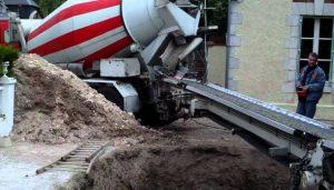 livraison de beton sur le chantier