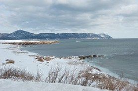 The shoreline of Aspy Bay in northern Cape Breton near the fishing village of Dingwall