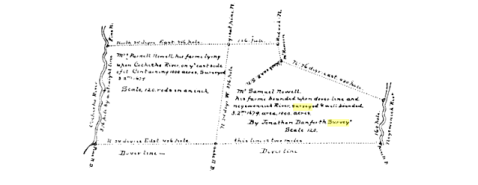 Survey of Samuel Nowell Farm by Jno. Danforth, 1679