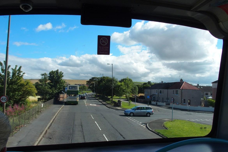 La vue depuis le sommet d'un bus qui m'emmène à la mer...