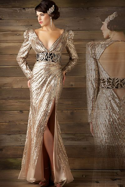 MacDuggal Couture Seductive Liquid Metallic Evening Dress