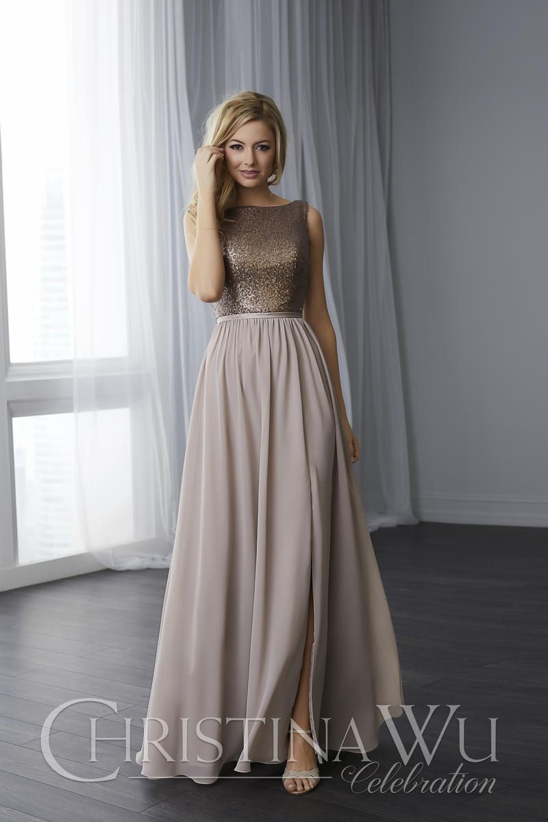 6df18ec1b57 Flounced Organza Skirt With Pearl Beaded Bodice · Christina Wu 22783 Sequin  And Chiffon Bridesmaid Dress