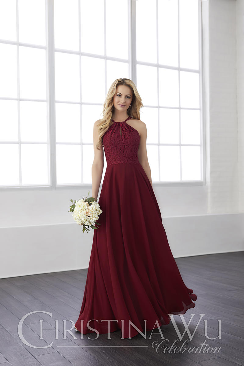 Christina Wu 22820 Bridesmaid Dress With X Back Lace Top