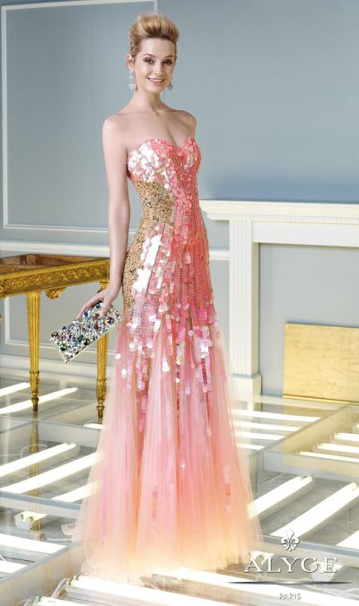 Alyce Claudine 2329 Iridescent Sequin Formal Gown French