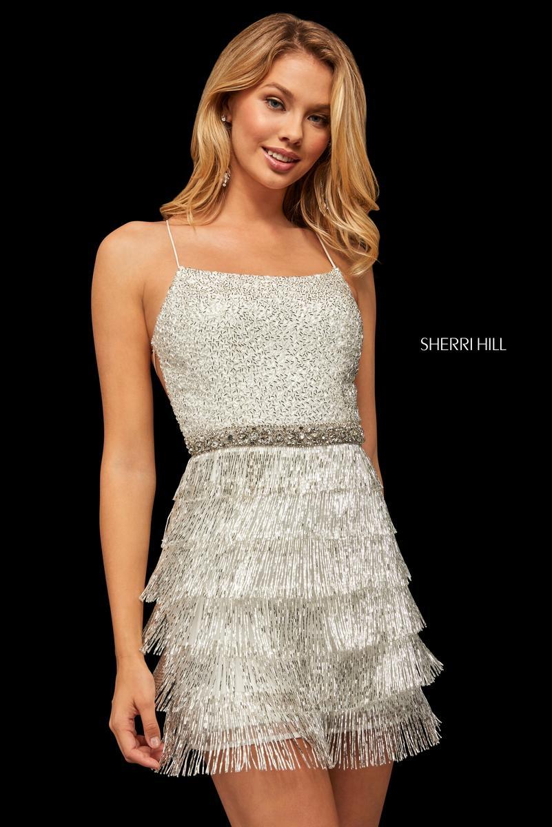 Sherri Hill 52935 Short Beaded Fringe Prom Dress French Novelty