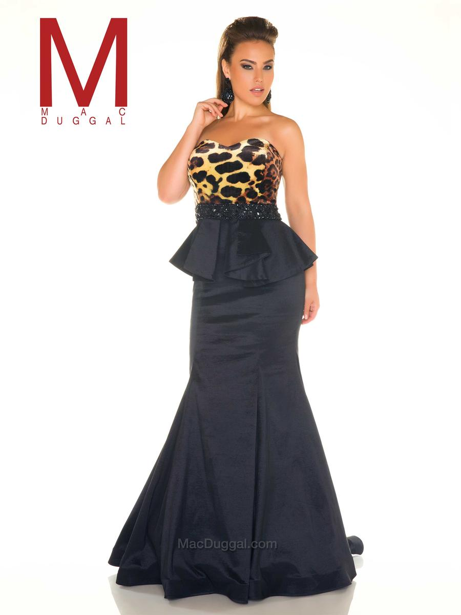 Mac Duggal Fabulouss 76995F Plus Size Animal Print Gown