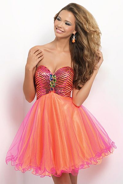 Blush 9660 Short Flowy Homecoming Dress French Novelty