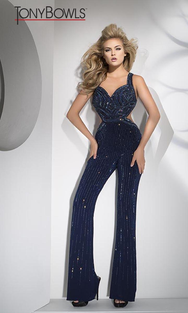 Tony Bowls TB11696 Beaded Formal Jumpsuit French Novelty