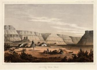 Fort Nez Perces / Fort Walla Walla, at the confluence of the Walla Walla and Columbia Rivers (John Mix Stanley, 1853).