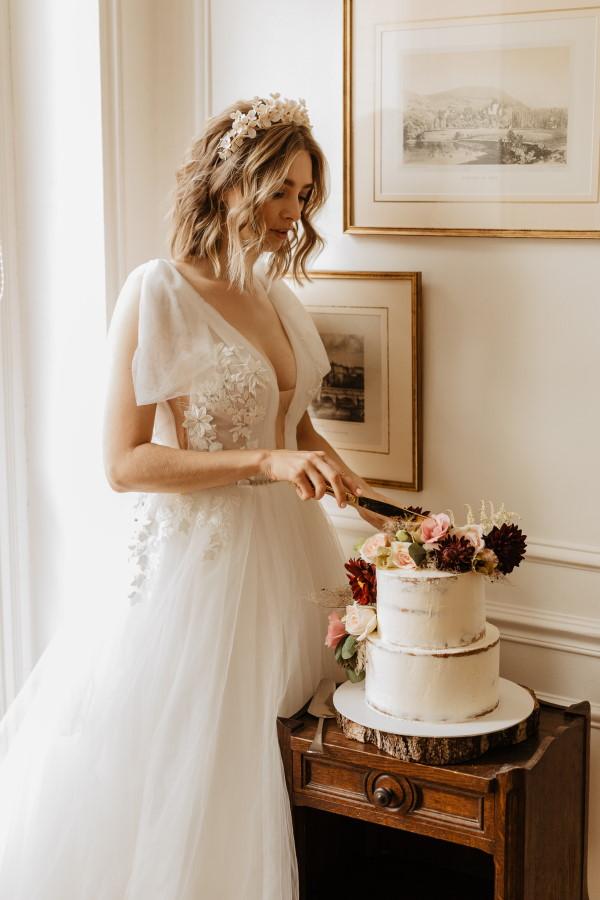 Coupe de gâteau de mariage français