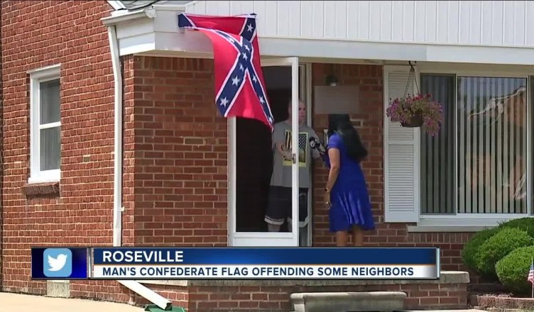 """Detroit Man Flying A Confederate Flag Says """"Black people Aren't Welcome!"""""""