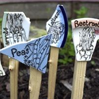 Funky handmade seed markers