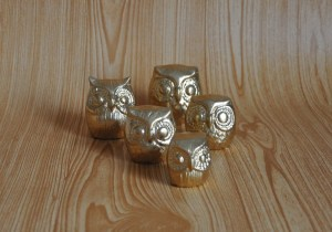 Handmade gold owls