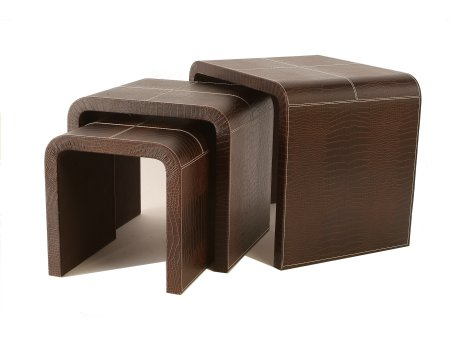 Faux leather side tables