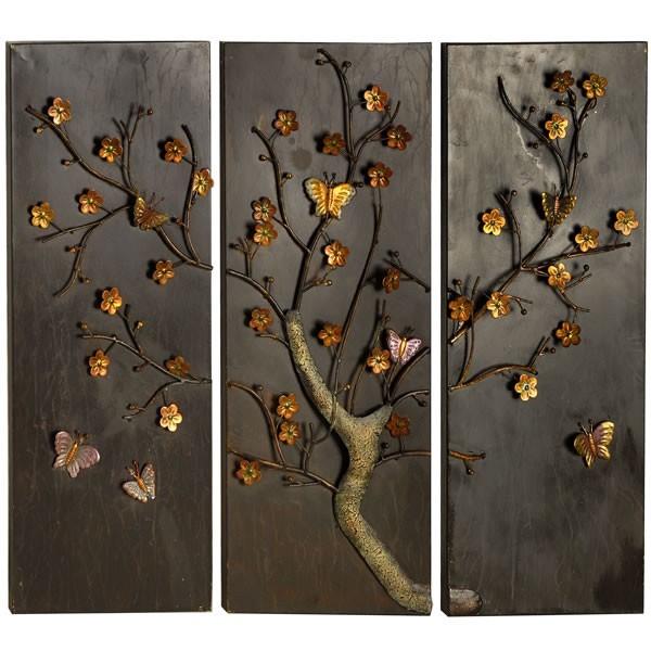 Butterfly panel metal wall art