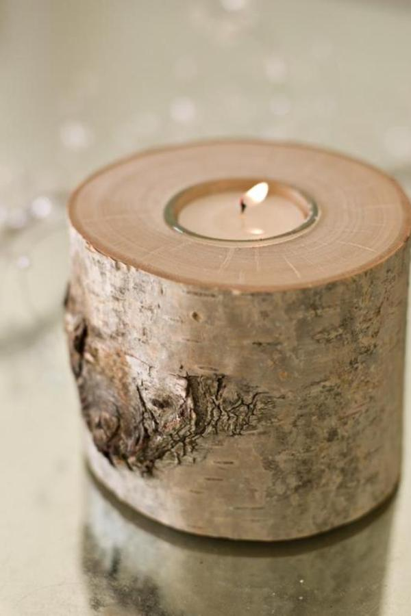 Silver birch candle holder