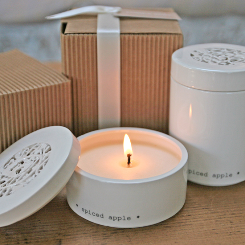 Spiced apple candle pots