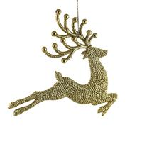 Two gold reindeer tree decorations