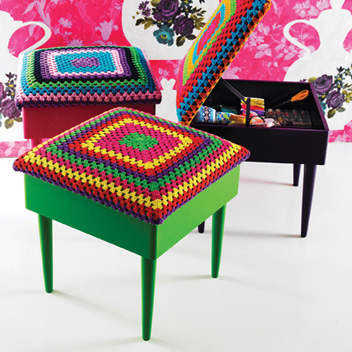 Bright crochet storage stool