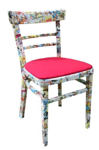 Reclaimed comic decoupage chairs