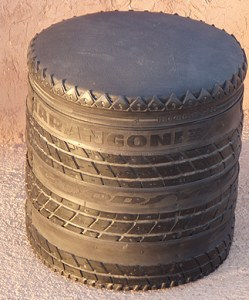Once a tyre, now a stool