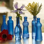 Wonderful blue glass Aladdin stem vases