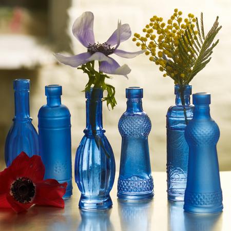 Wonderful blue glass Aladdin stem vases