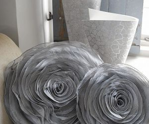 Silver 3D rose cushion
