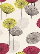 Pink and natural dandelion clocks wallpaper sanderson