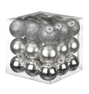 Bargain box of silver Christmas decorations