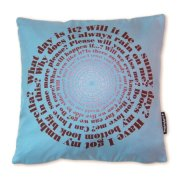 Designer everyday questions textile cushion by Judy Holme