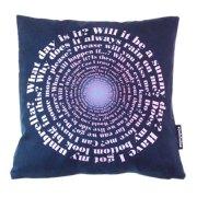 Designer questions cushion by Judy Holme in dark blue