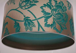 Unusual turqouise floral stripe lampshade from Stem