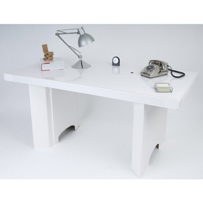 White cardboard desk from Ecocentric