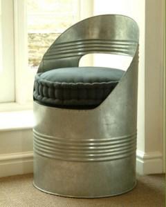 Galvanised steel beer barrel design chair from Garden Trading
