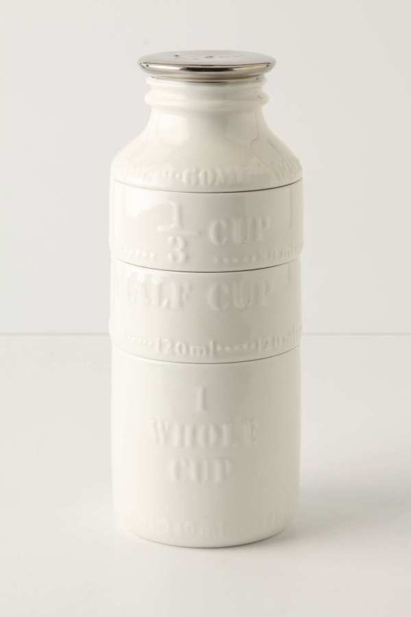 Milk bottle measuring cups from Anthropologie