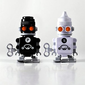 Funky salt and pepper robot characters
