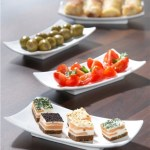 Set of four rectangular tapas plates