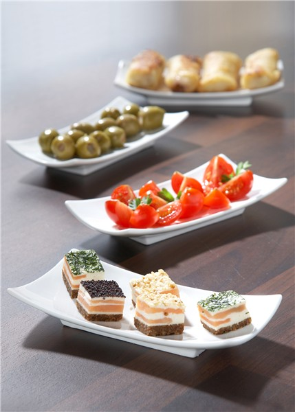 Set of four rectangular tapas plates