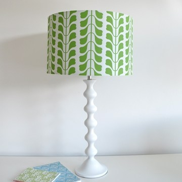 Osborne and Little leaf lampshades and white lamp base