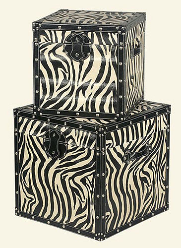 Zebra print storage trunks from Fab and Funky
