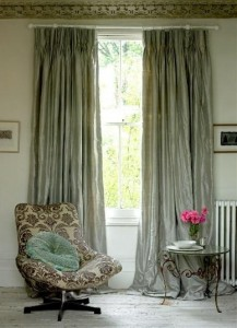 Luxury silk pencil pleat curtains
