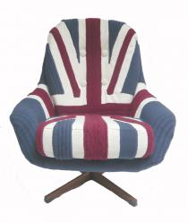 Contemporary knitted union jack chair