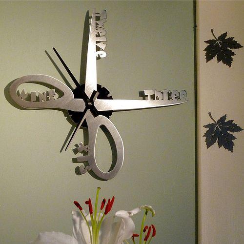 Stainless steel scissors wall clock