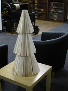 Recycled Christmas book tree decoration