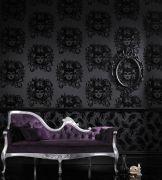 Luxurious black flock gothic wallpaper